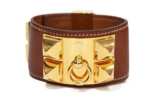 8cbc438b4703 bracelet hermes collier de chien en cuir lisse camel accesoire dore -  LaBoutiquedeKroll - Depot Vente Chic et Tendance